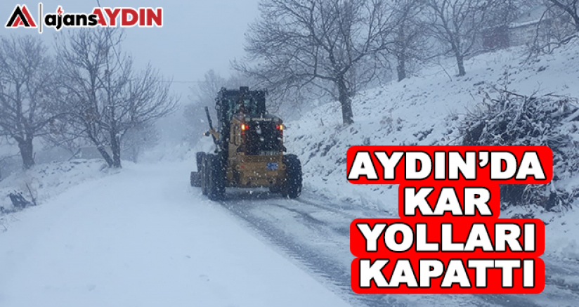 Aydın'da kar yolları kapattı