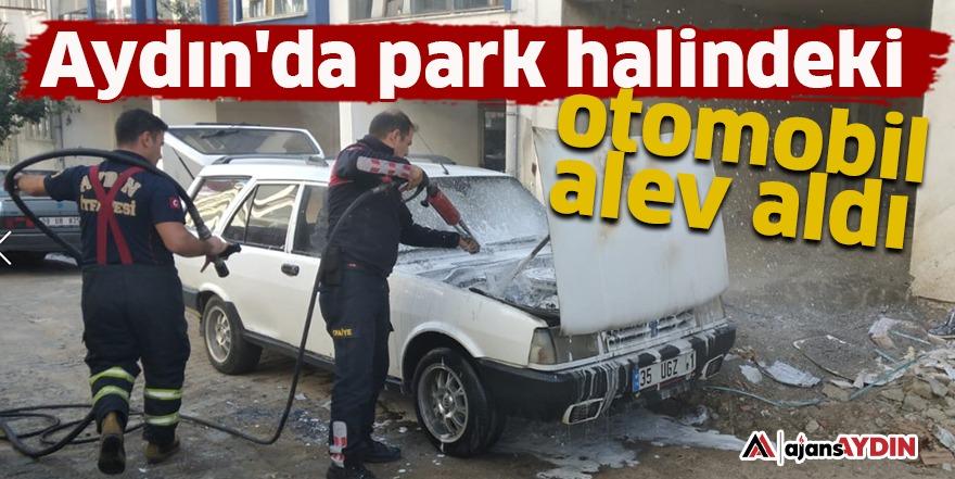Aydın'da park halindeki otomobil alev aldı
