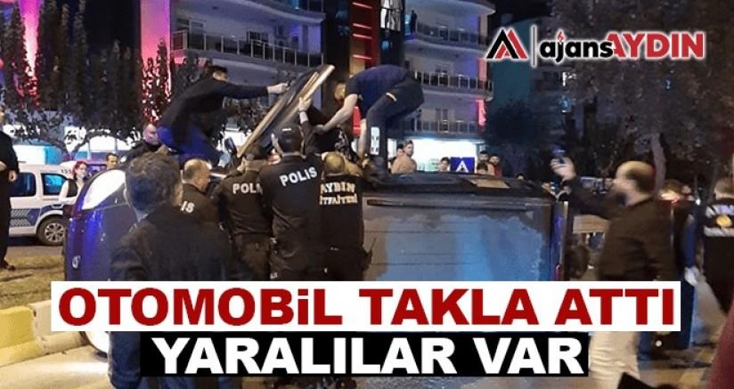 Aydın'da otomobil takla attı