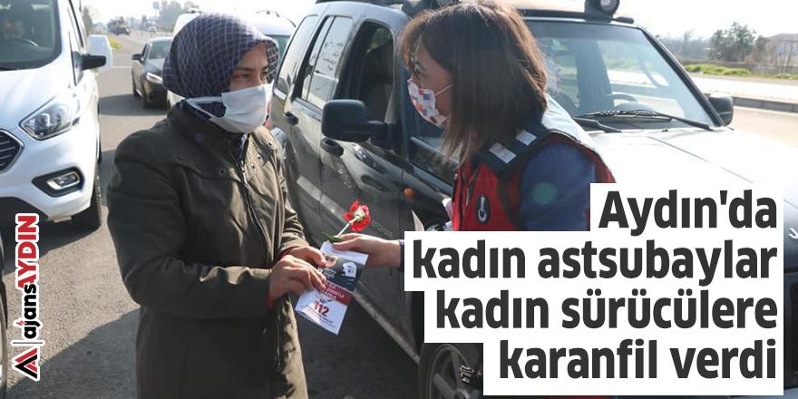 Aydın'da kadın astsubaylar kadın sürücülere karanfil verdi