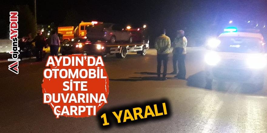 Aydın'da otomobil site duvarına çarptı